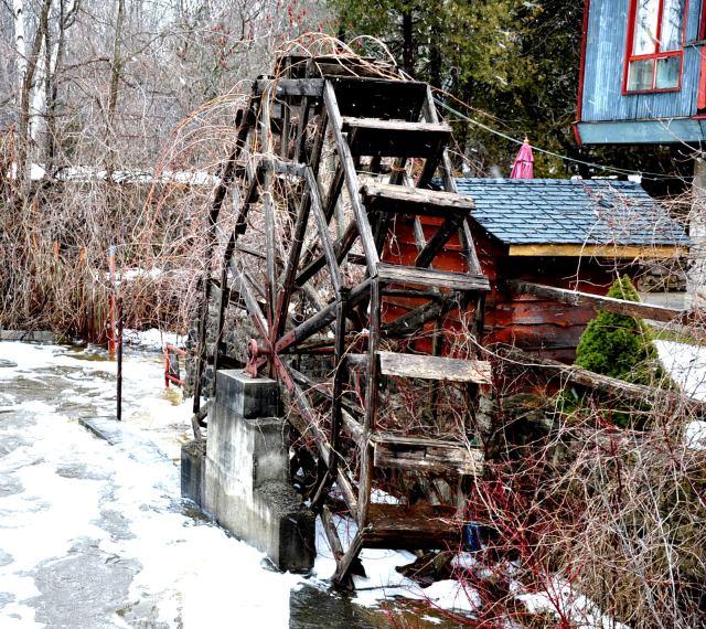 Wood water wheel in Eden Mills, Ontario