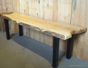 Live edge bench with steel legs