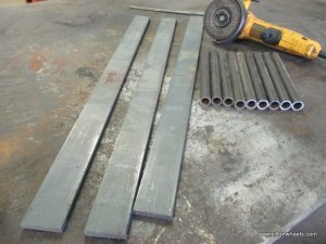 Materials used to make live edge steel shelf brackets.
