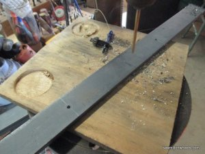 drilling holes in steel for brackets.