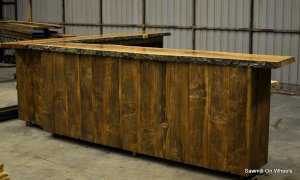 Live edge natural wood Cherry Home bar.